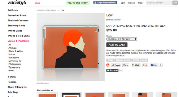 David Bowie laptop mac cover skin