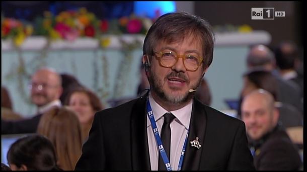 Rocco Tanica dalla sala stampa dell'Ariston Festival Sanremo